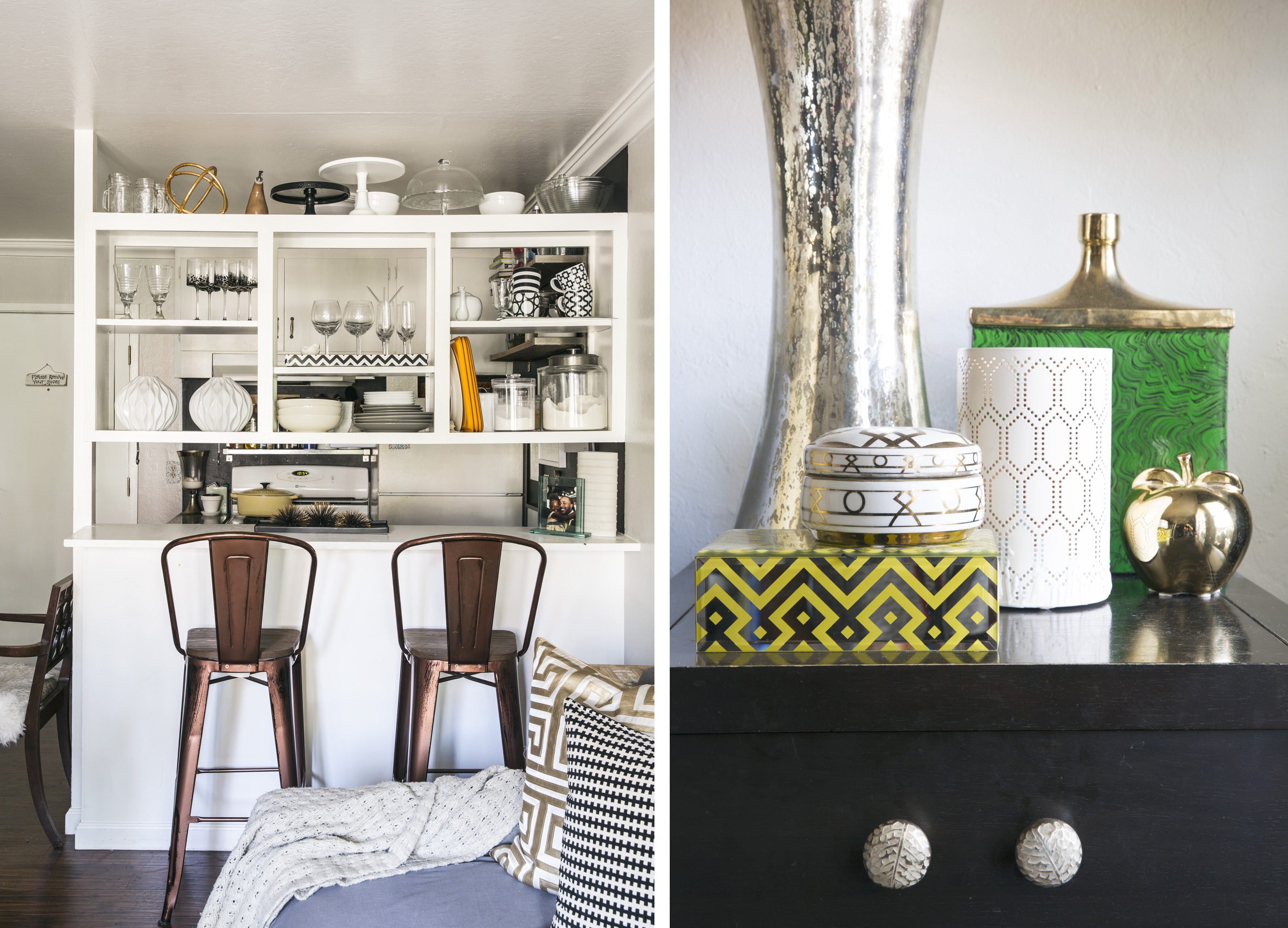Clockwise From Above The Designer Doesnt Shy Away A Bold Color In Small Kitchen Accessories With Geometric Prints Have Moment On Side Table