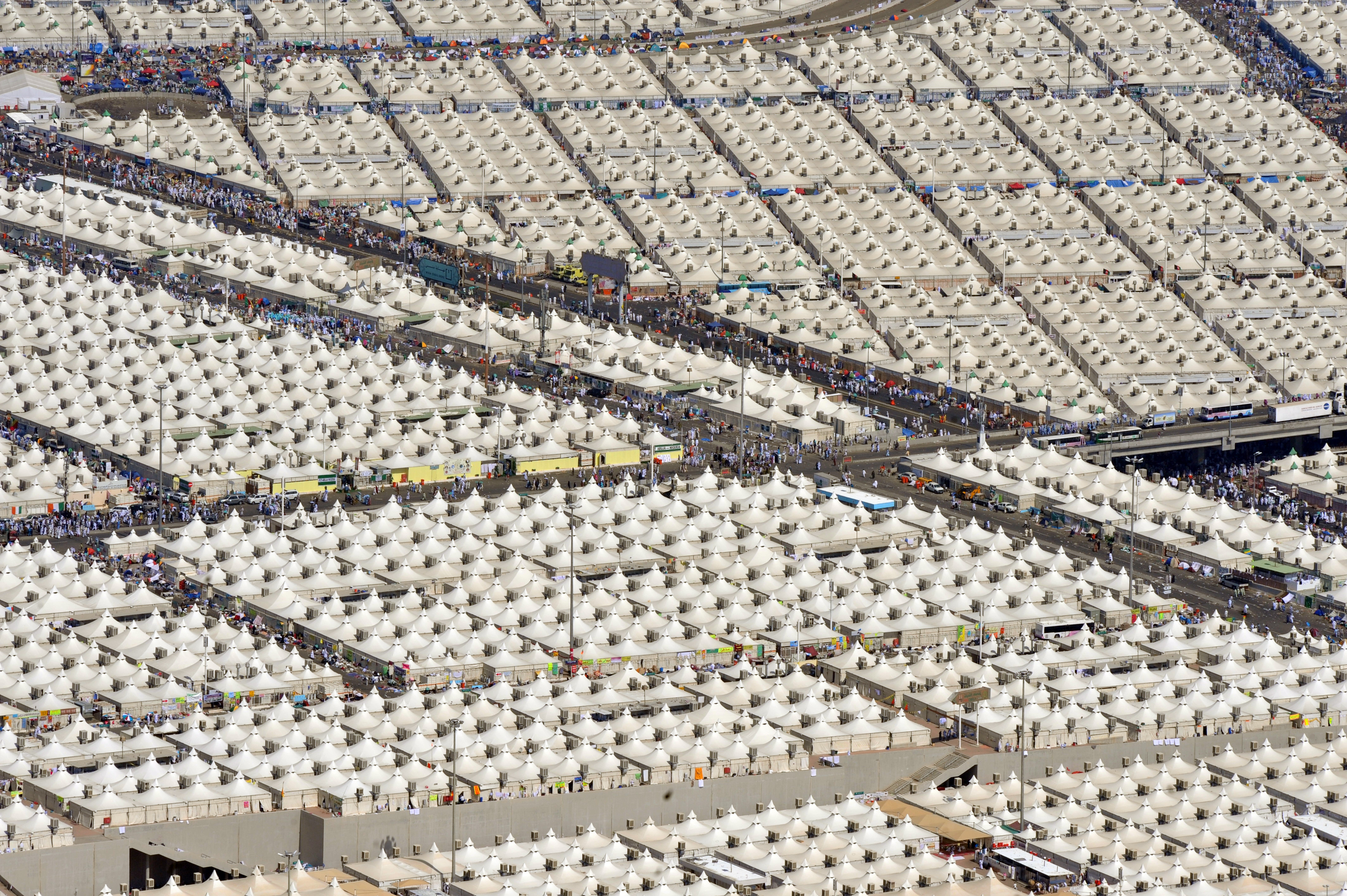 An aerial view taken on October 27 2012 shows of thousands of pilgrimsu0027 tents in Mina during the annual Hajj. FAYEZ NURELDINE/AFP/Getty Images & Hajj the Islamic pilgrimage to Mecca explained for non-Muslims - Vox