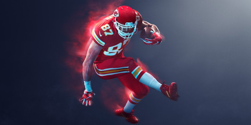 2b6b4a36361 Chiefs color rush uniforms are here red on red