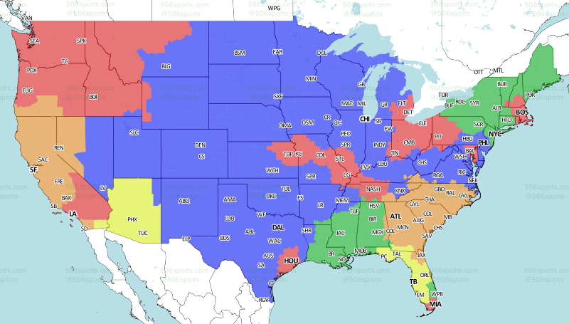 Los Angeles Rams Week Broadcast Map Turf Show Times - Los angeles on us map
