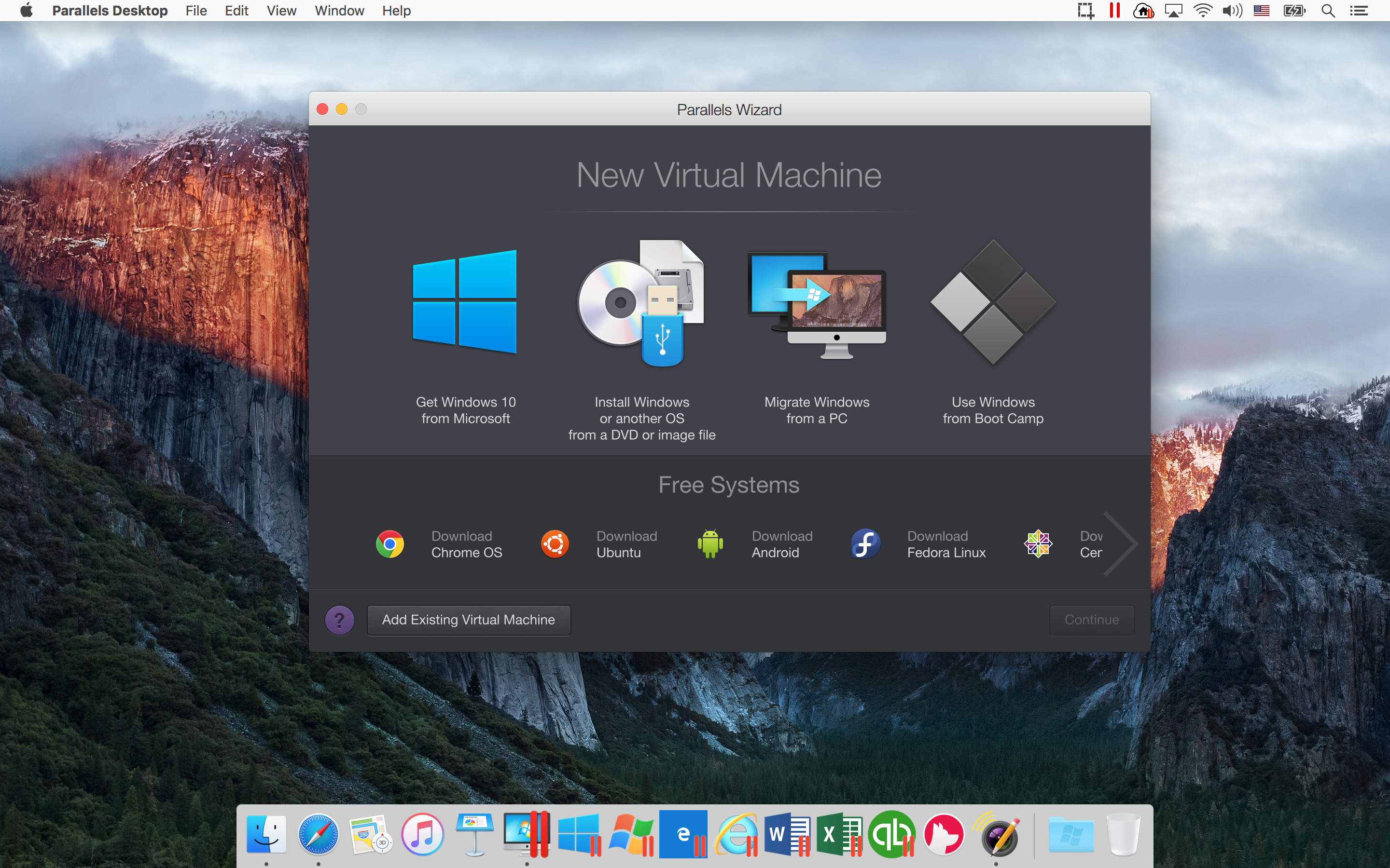a screenshot of sierra running in the background and the parallels desktop wizard in the foreground