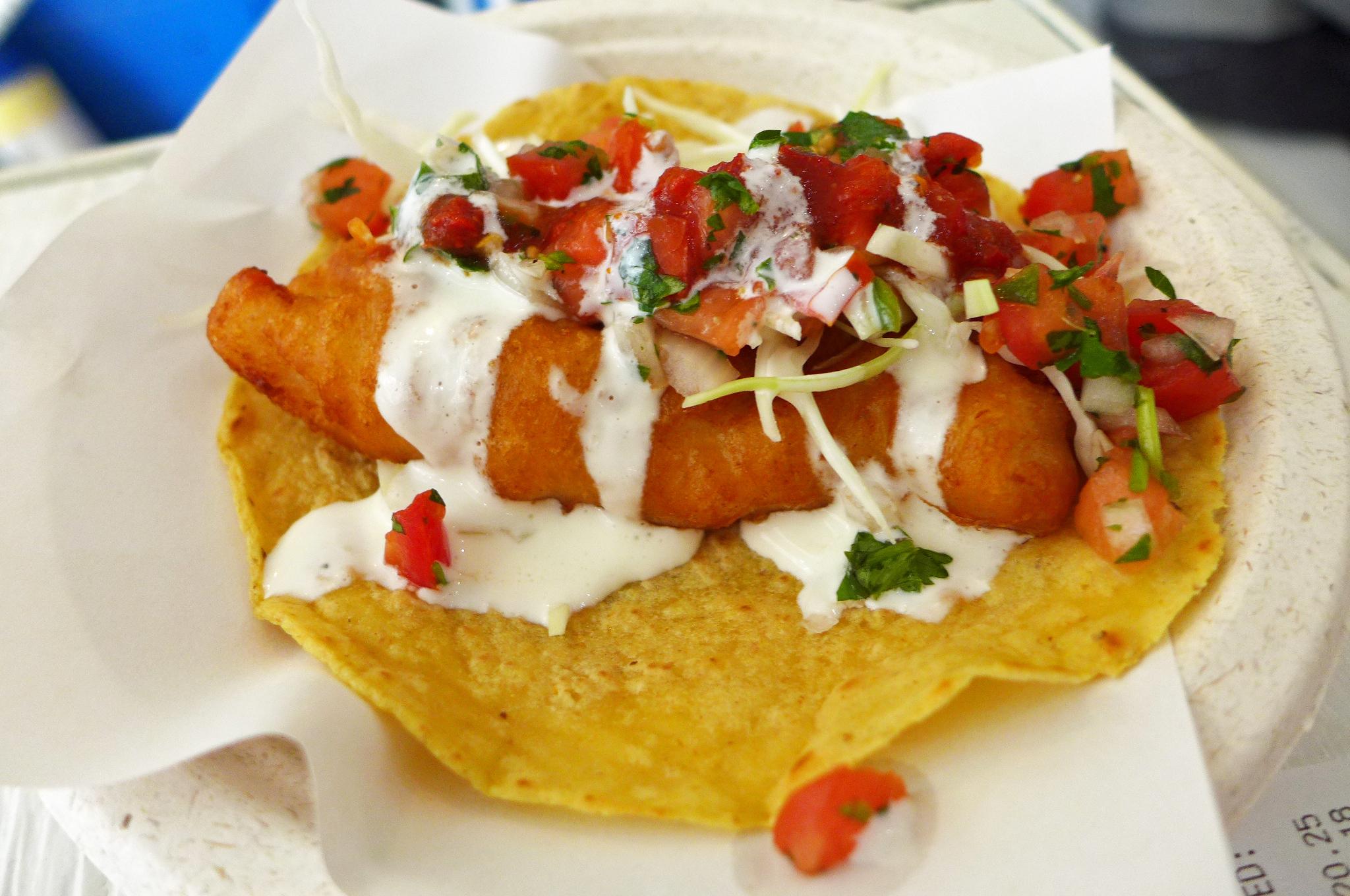 Los mariscos brings bodacious baja fish tacos to chelsea for Baja fish tacos menu