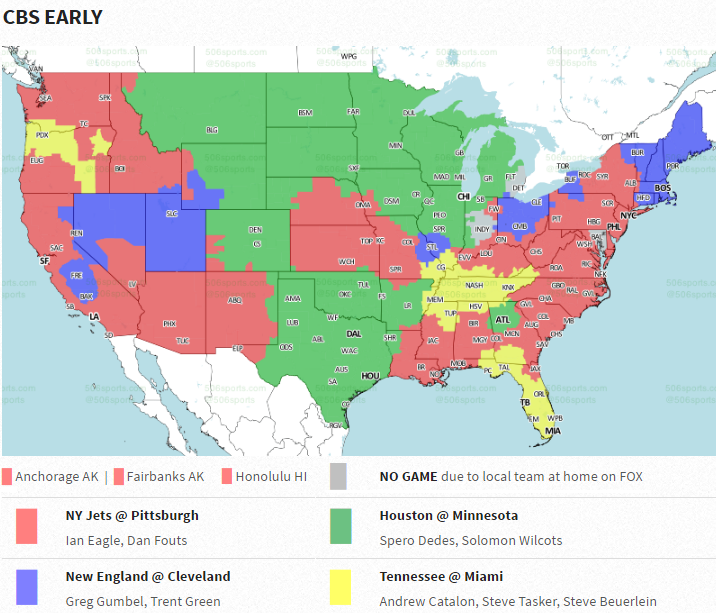 NFL Week TV Maps Bengals Vs Cowboys Available For Majority Of - Nfl team us map