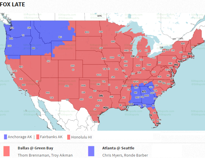 NFL Week TV Maps Will The BengalsPatriots Game Be On Your TV - Map of us rooting for falcons