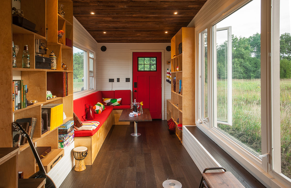 Tiny House eco-friendly tiny house offers reclaimed style and drawbridge deck