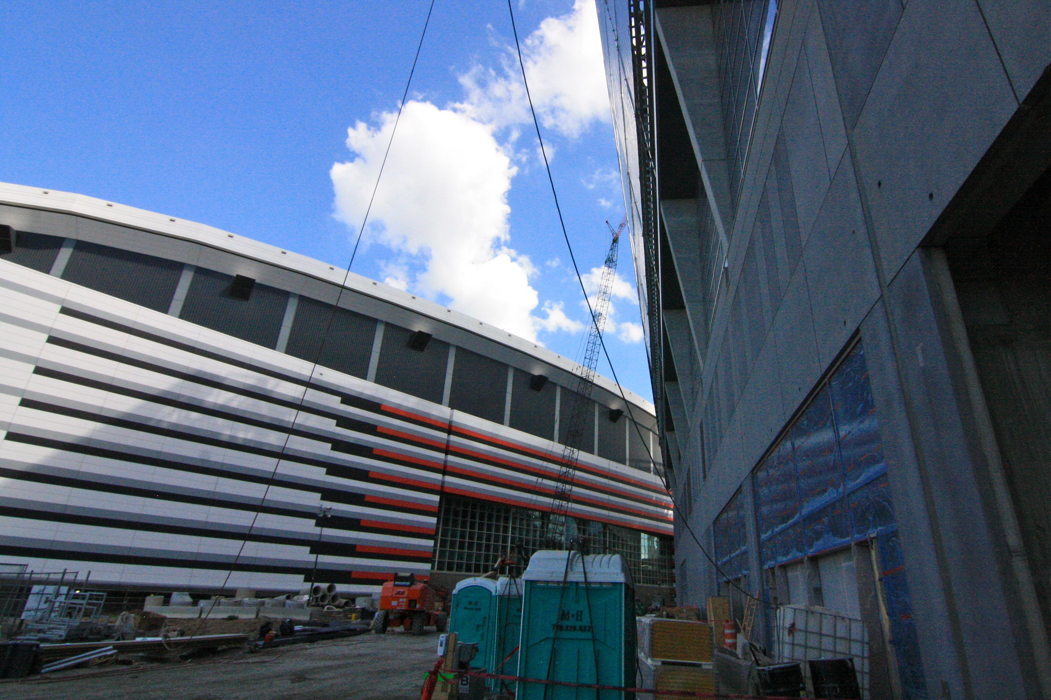 Inside atlanta falcons mercedes benz stadium today for Mercedes benz georgia dome