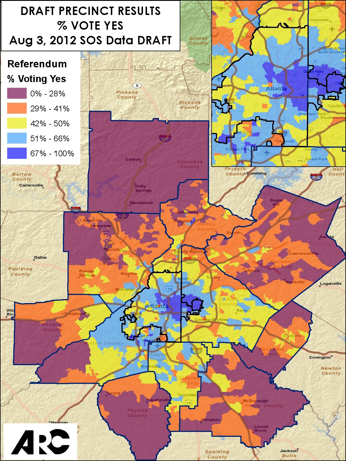 For TSPLOST Vote A Movement Called Unlock ATL Mounts Curbed - Georgia voting map