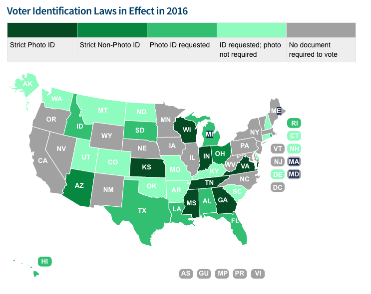 Ways Your Voting Rights Could Be Violated Today Vox - Map of voter id laws in the us