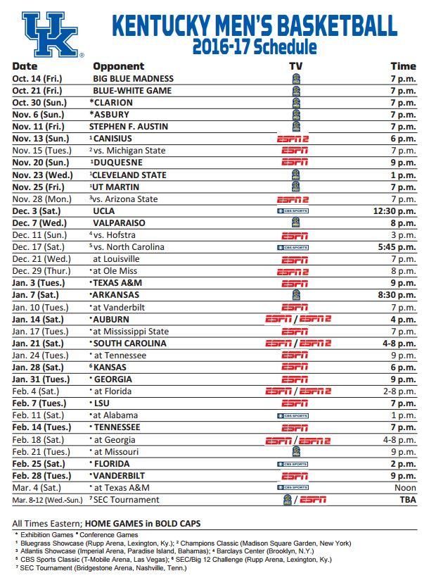 Kentucky Wildcats Basketball: Full 2016-17 Schedule ...