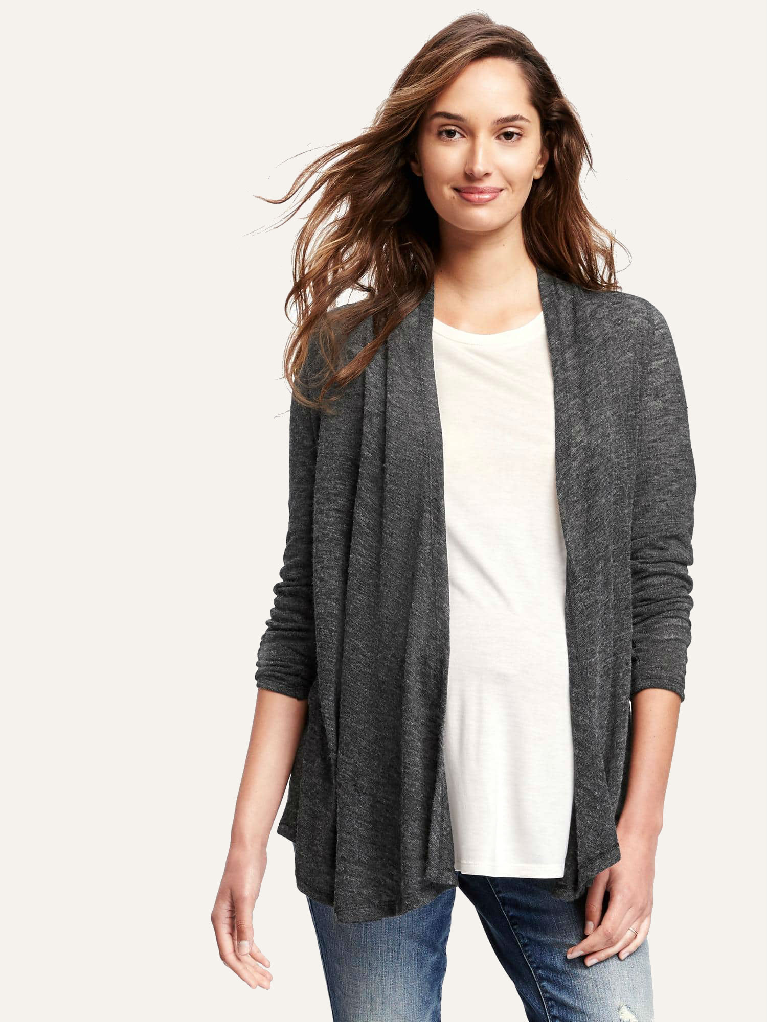 Where to buy good maternity clothes racked a model wearing an old navy maternity top and cardigan ombrellifo Gallery
