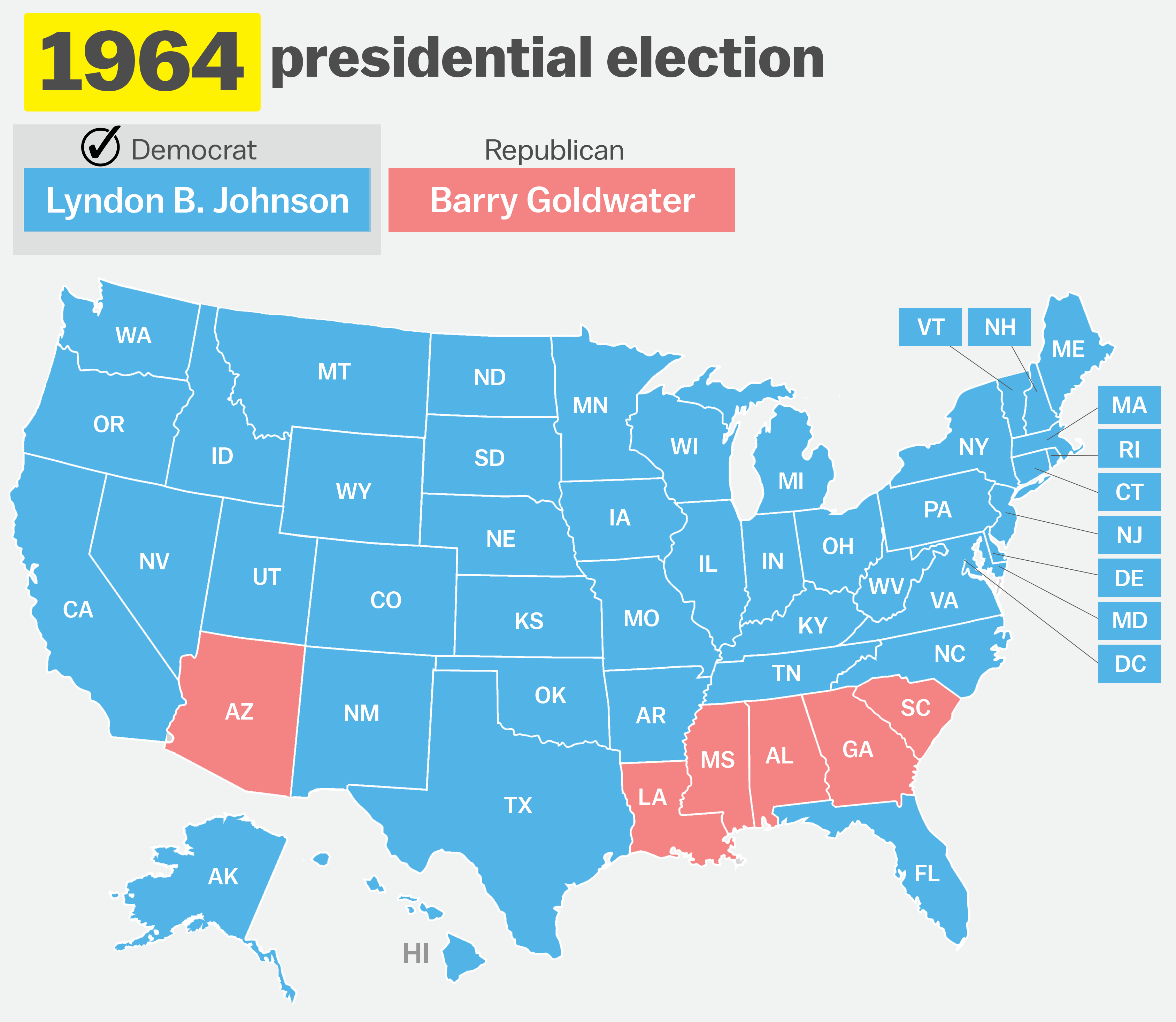 How has your state voted in the past 15 elections?