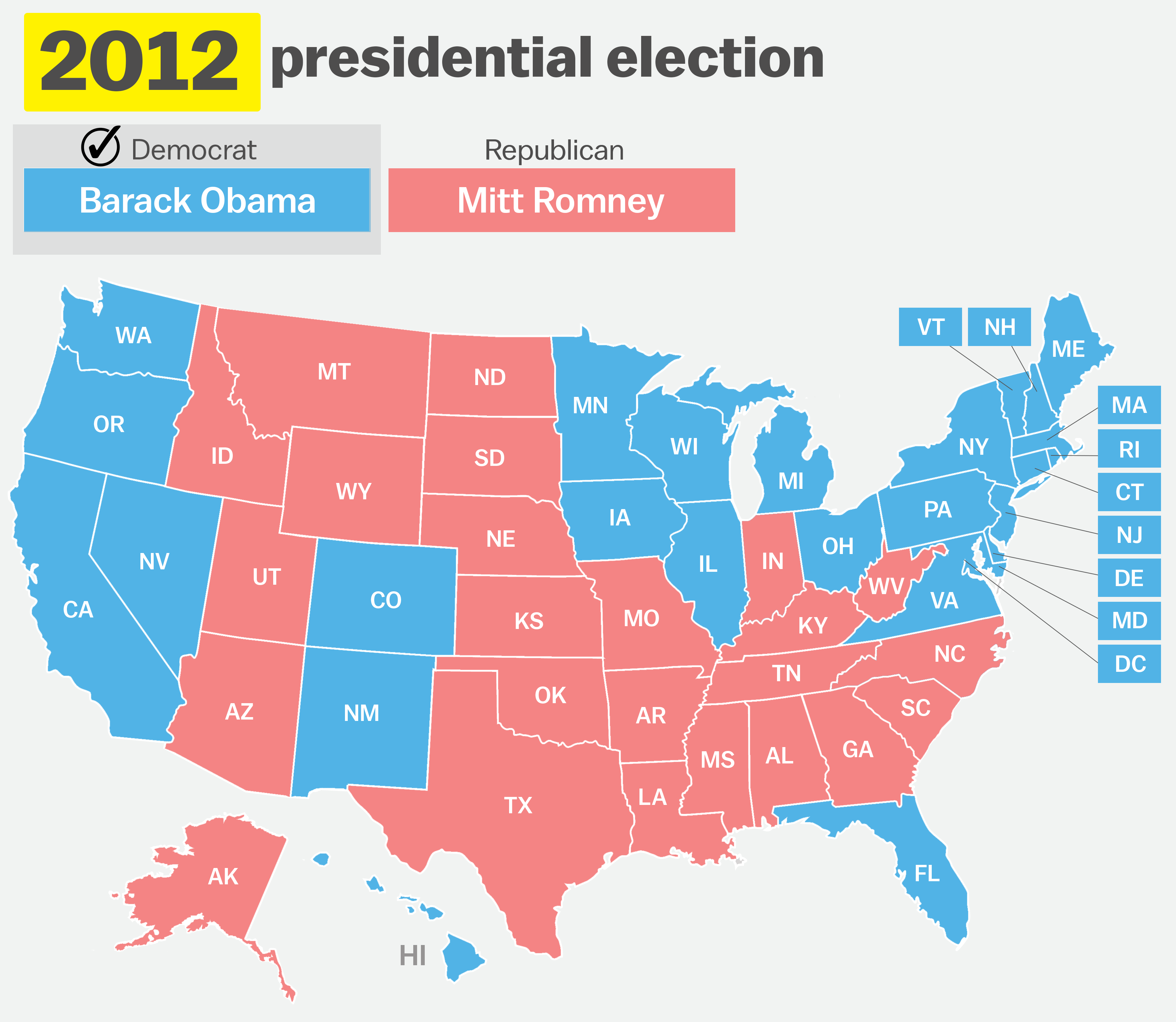 How Has Your State Voted In The Past Elections Vox - Us presidential election 2012 map