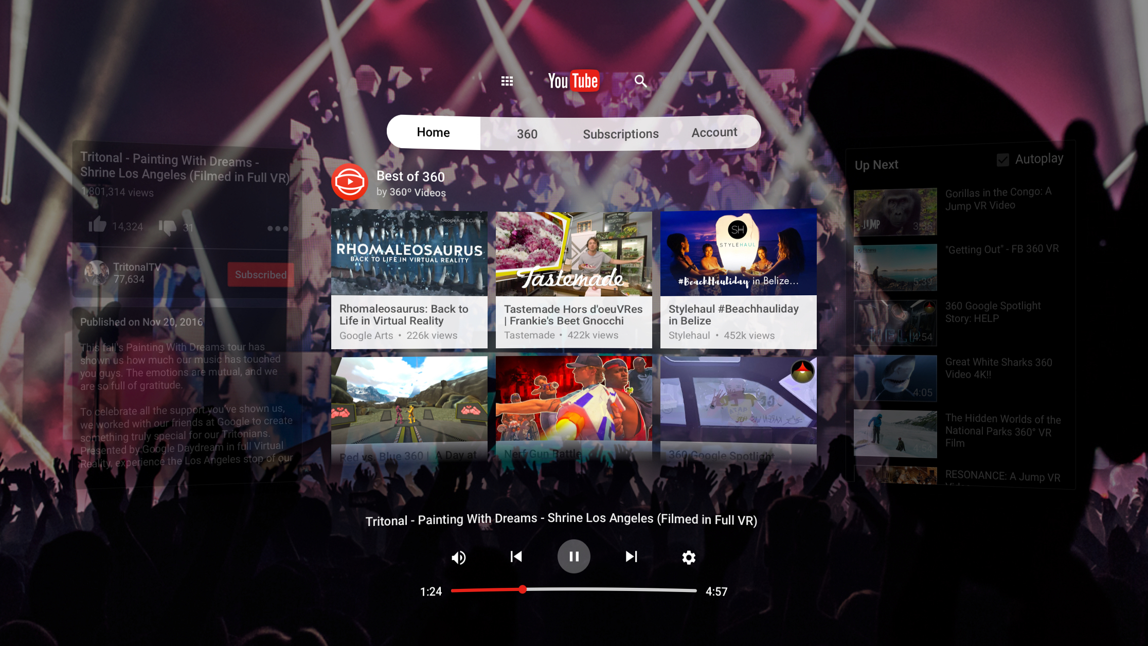 Youtube vr is daydreams killer app the verge youtube vr screenshot reheart Gallery