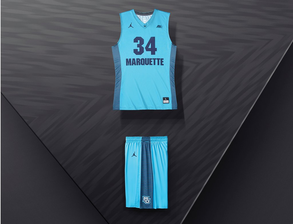 nike n7. as you can see here, it\u0027s exactly the same uniform that marquette is wearing for their centennial season, except turquoise with what appears to be navy nike n7 a