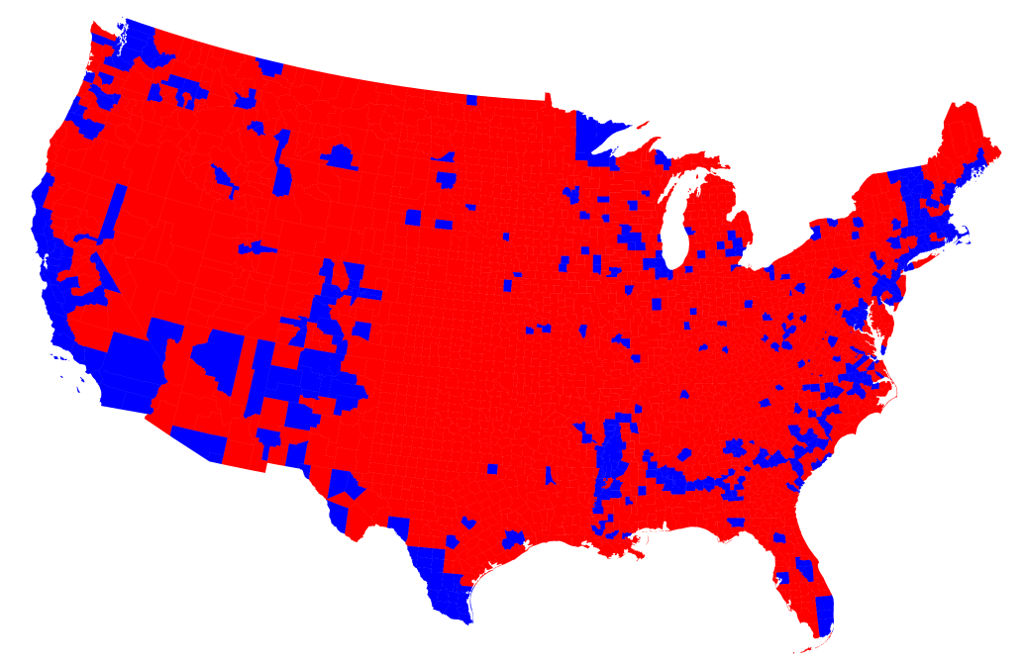 Will The Election Change Our Thinking On Cities Curbed - Map all us counties election 2016