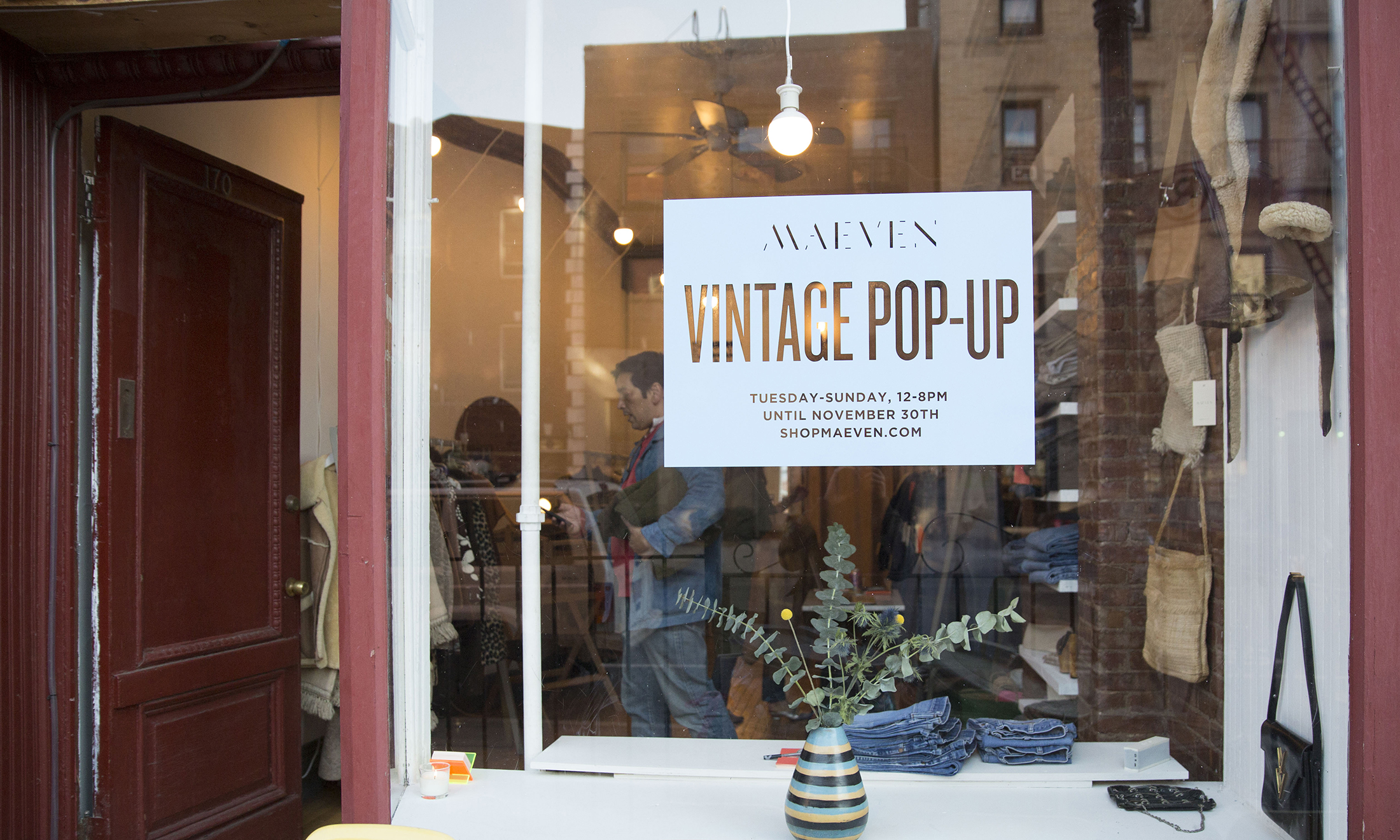 A Storefront Of The Maeven Vintage Pop Up Shop In New York City