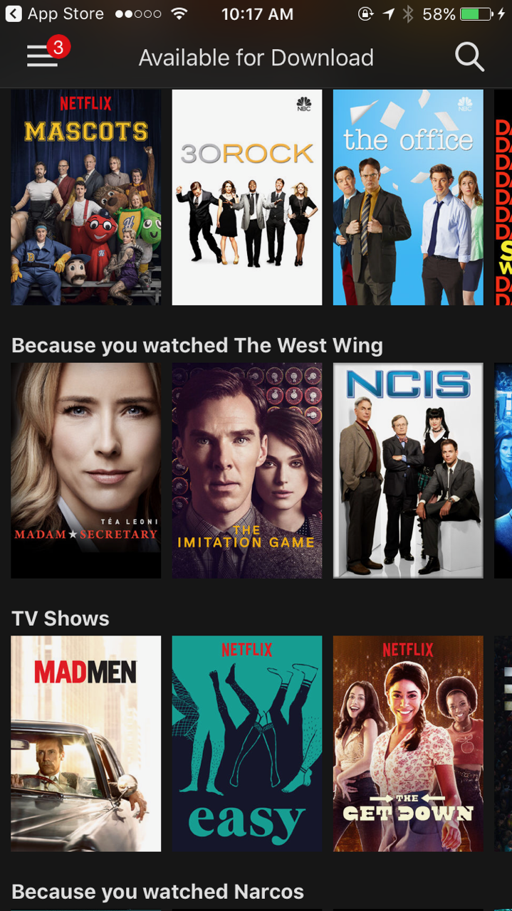 netflix will let you download video to go  but not movies