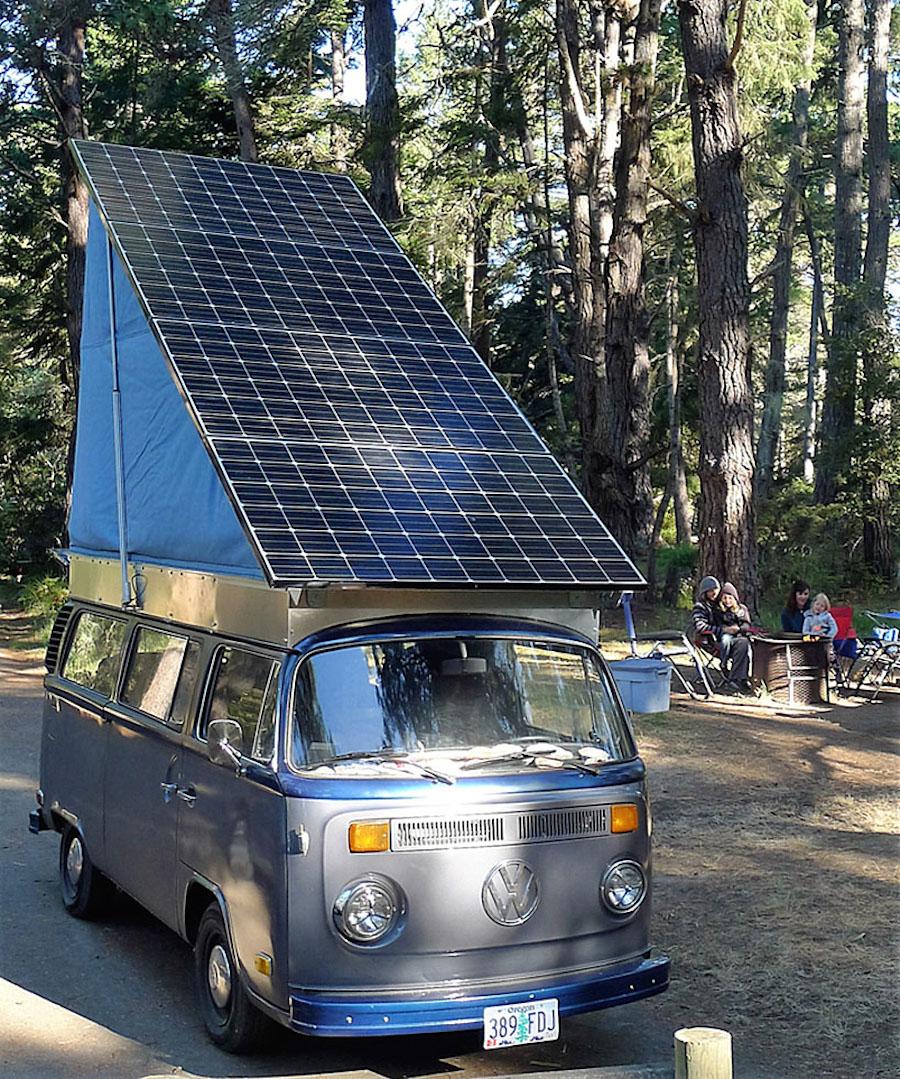 Vintage Volkswagen bus converted into solar electric camper