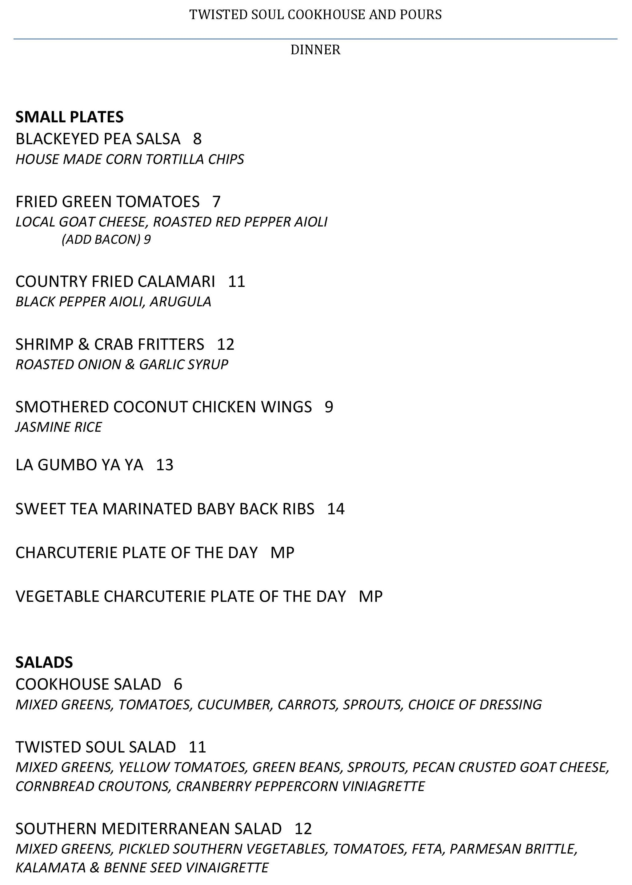 Here\'s the Menu for Twisted Soul Cookhouse & Pours, Certified Open ...