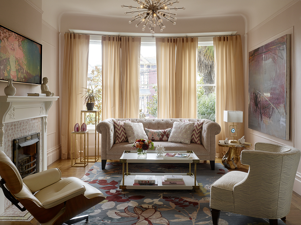 A Light Pink Living Room