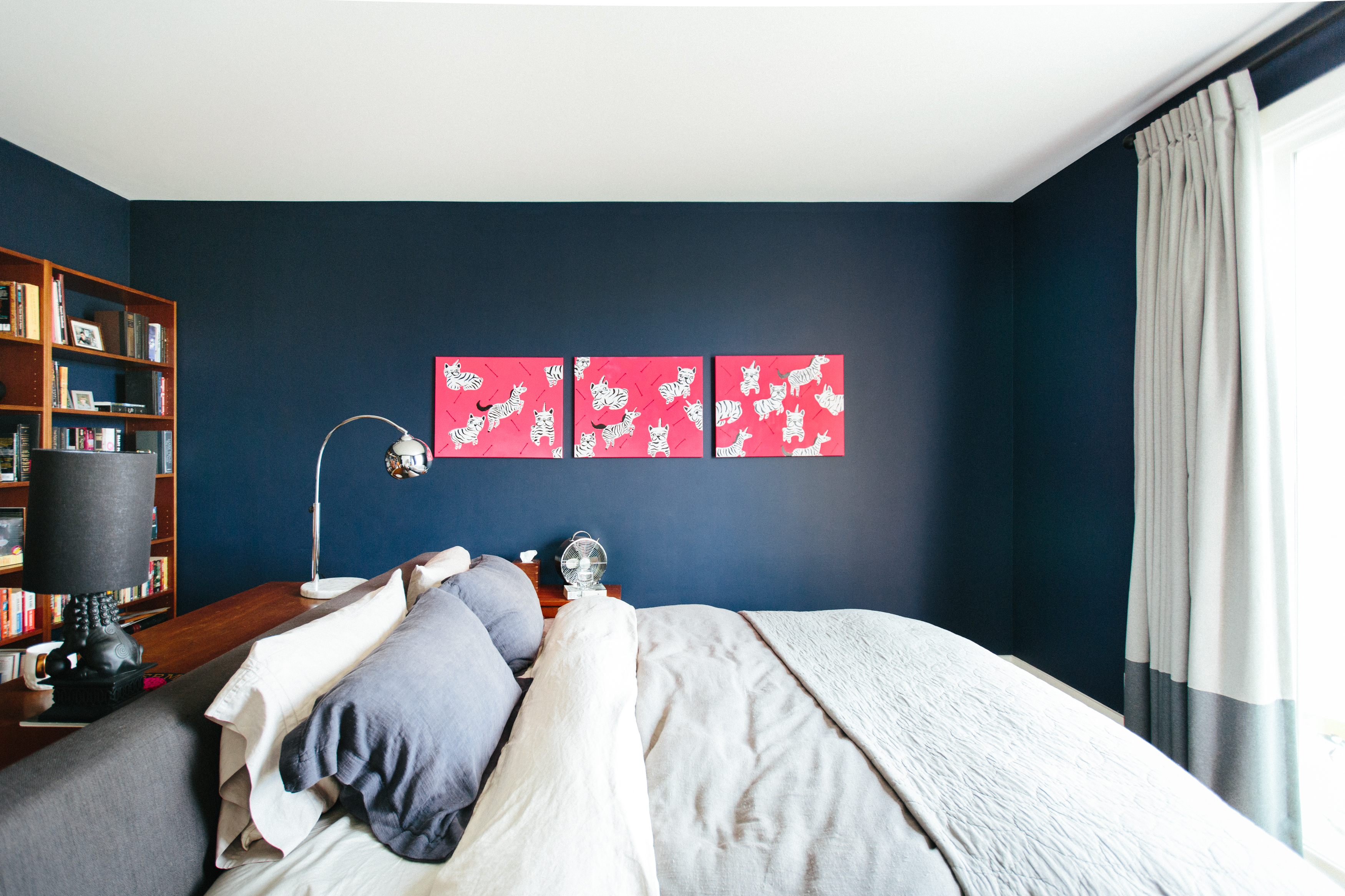 A Dark Blue Bedroom.