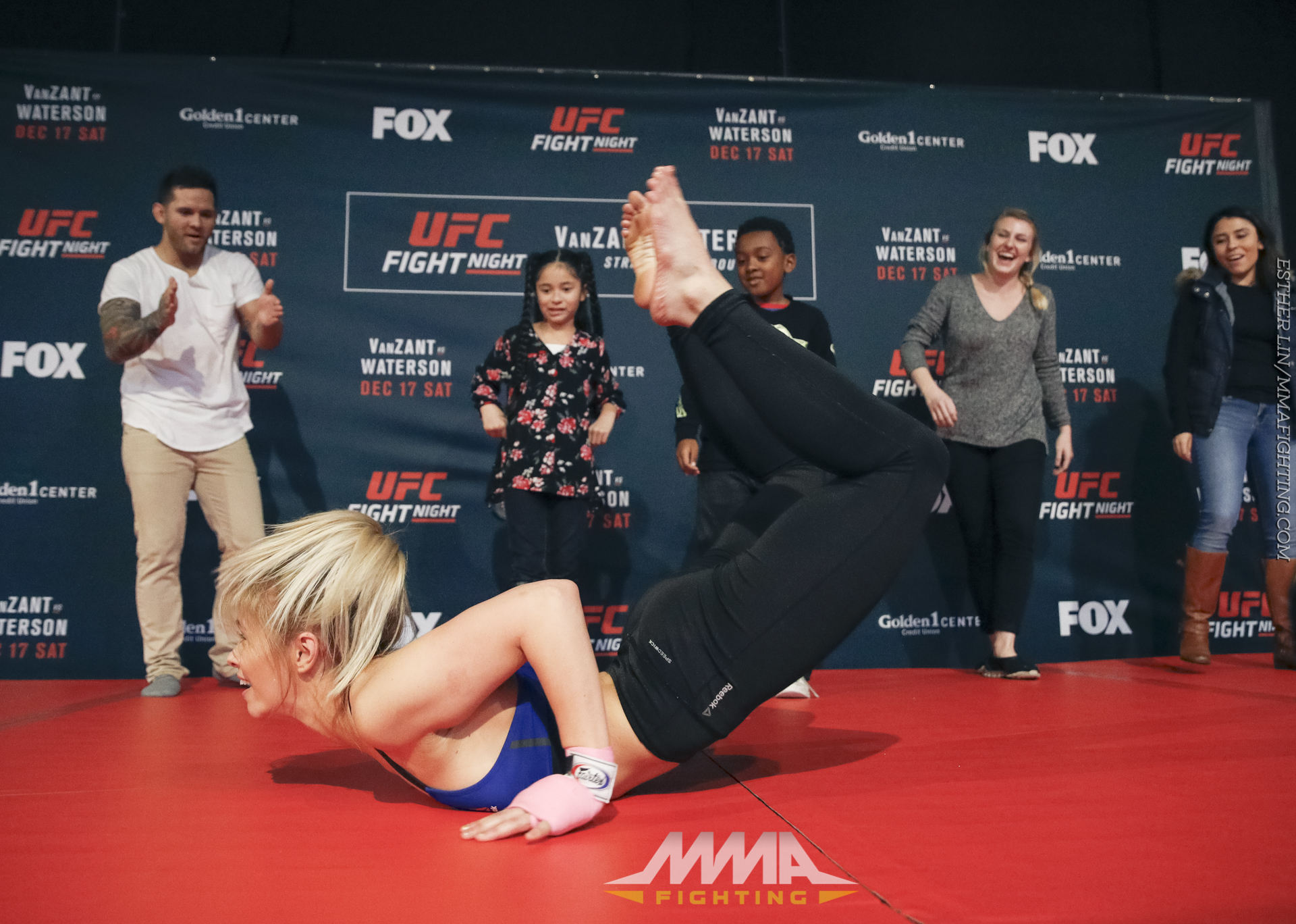 Ufc On Fox 22 Open Workout Photos Paige Vanzant Does The Worm During Workouts At Golden 1 Center In Sacramento Thurs Dec