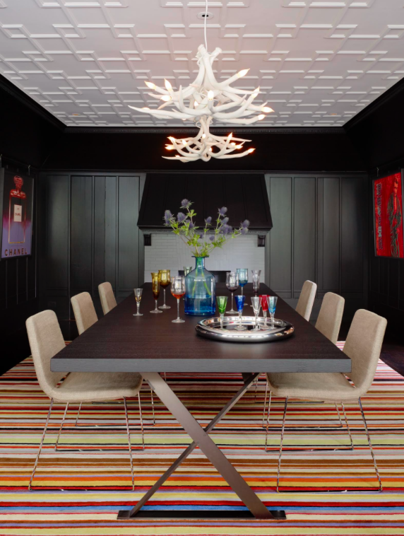 A Dining Room With Black Paneling