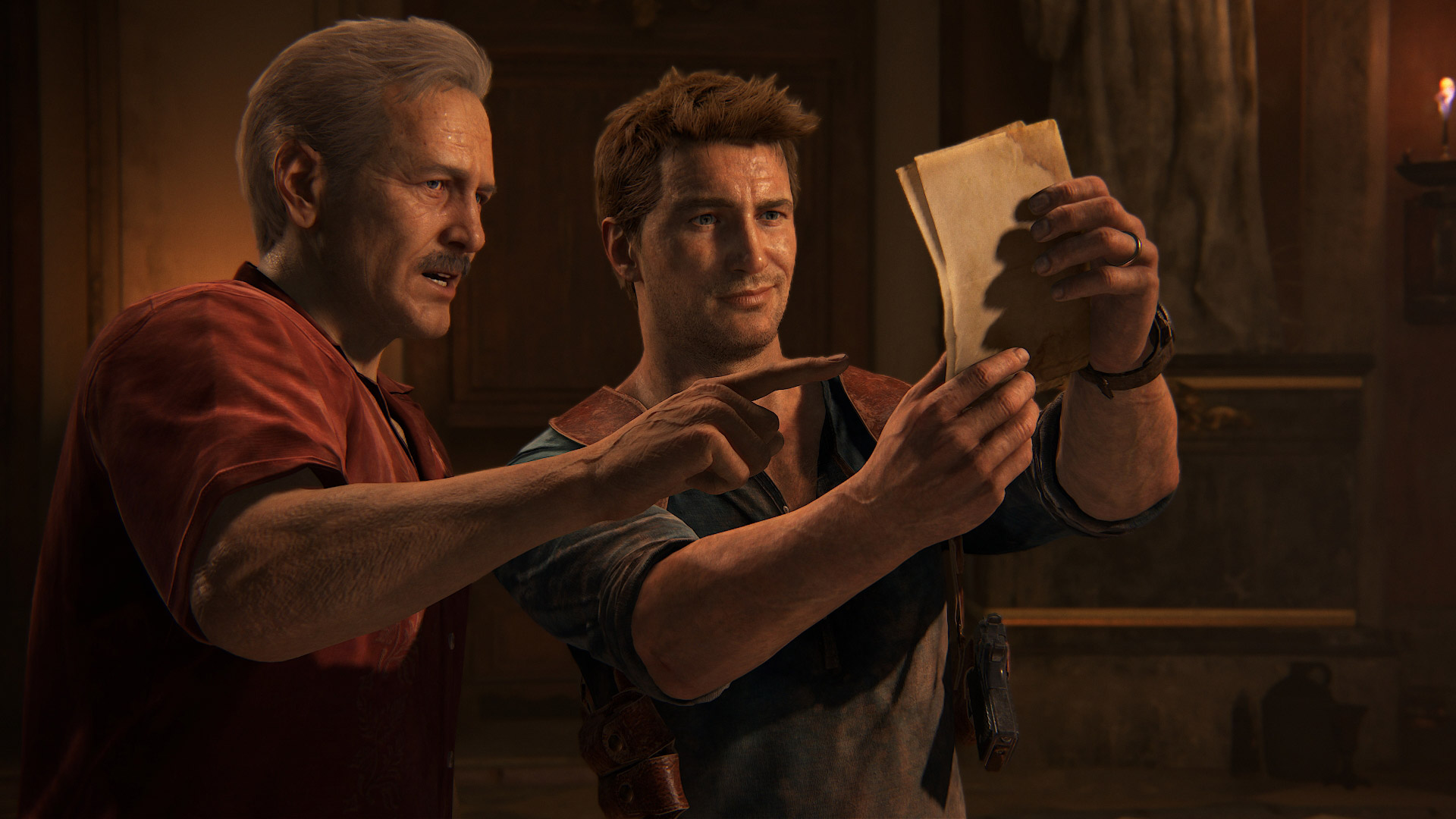 Uncharted 4: A Thief's End - Sully and Nate examine documents