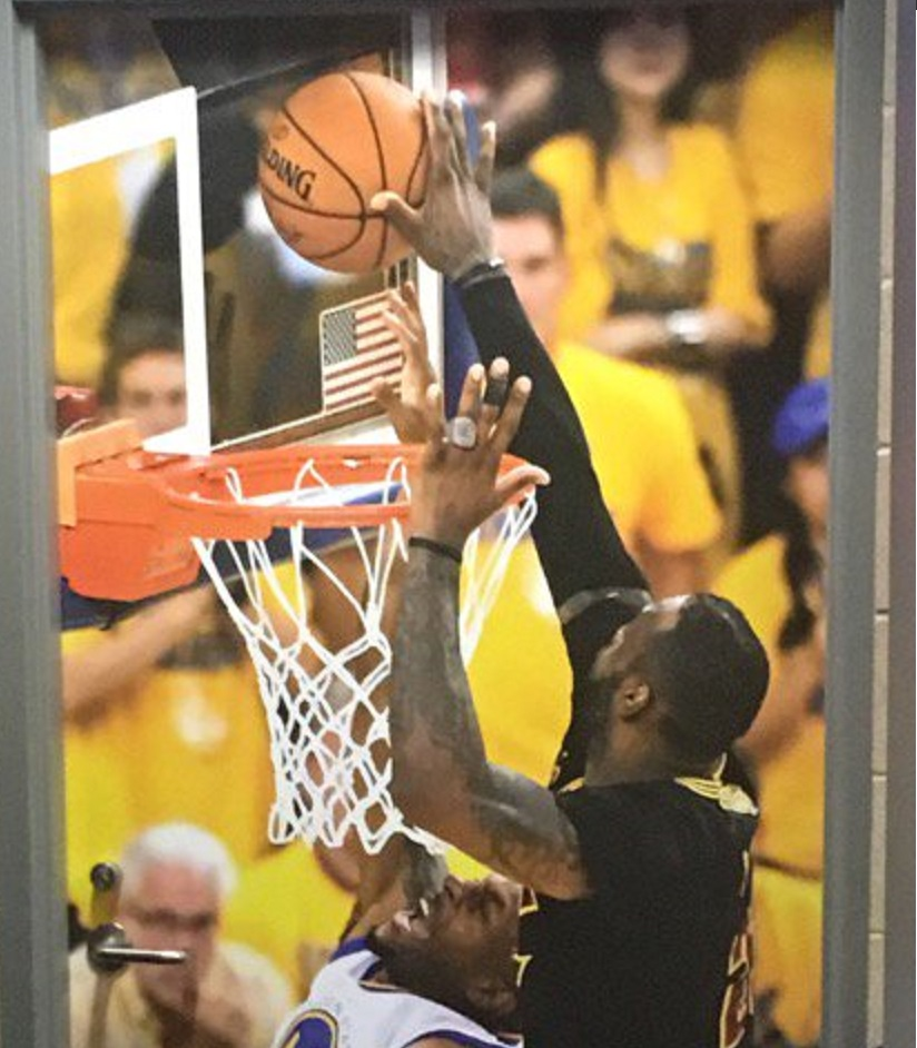 Cavaliers hung photo of LeBron James' game-sealing finals block outside the Warriors' locker ...