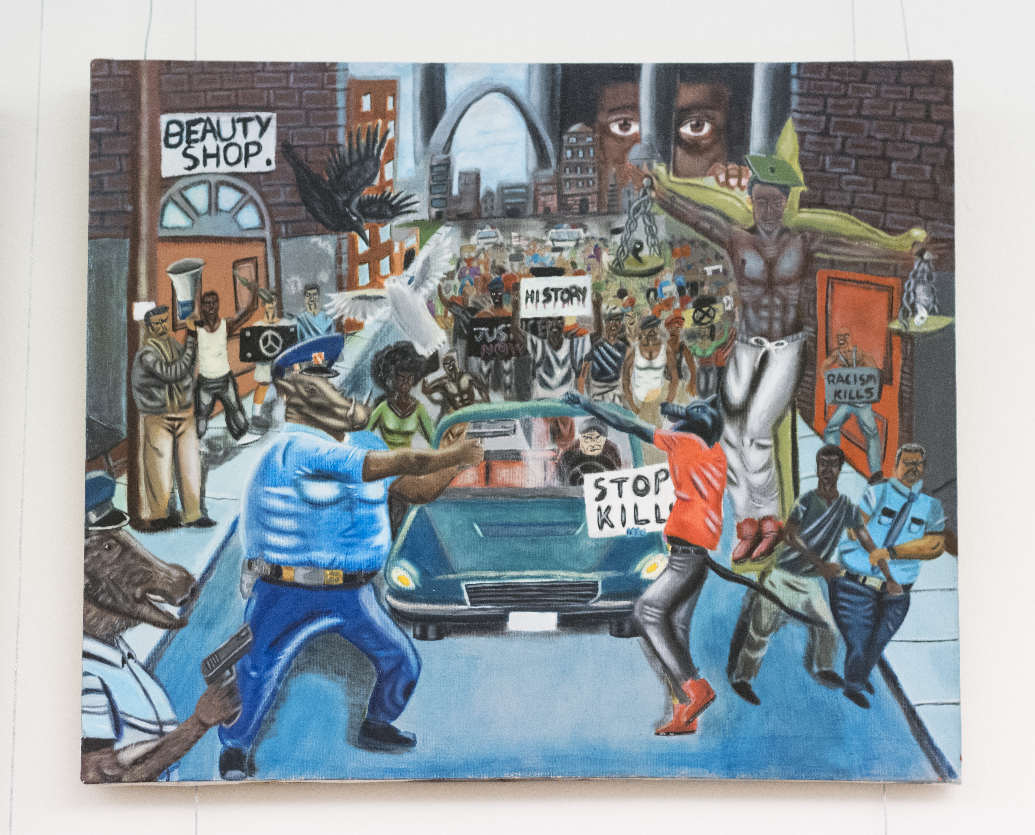 Congress is feuding over a teen's controversial painting that dramatizes events in Ferguson