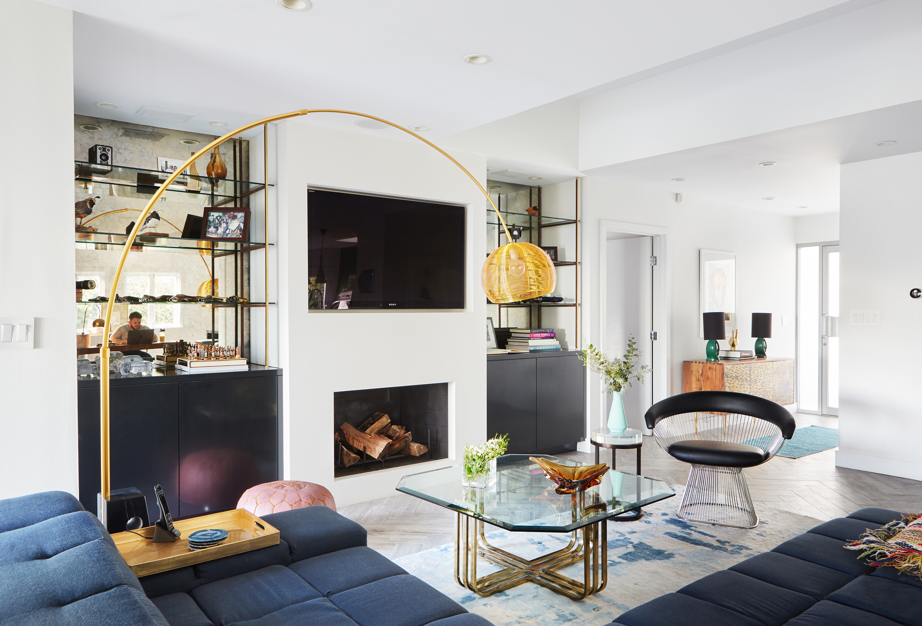 A bachelor embraces color and quirk in the hollywood hills for Living room 0325 hollywood