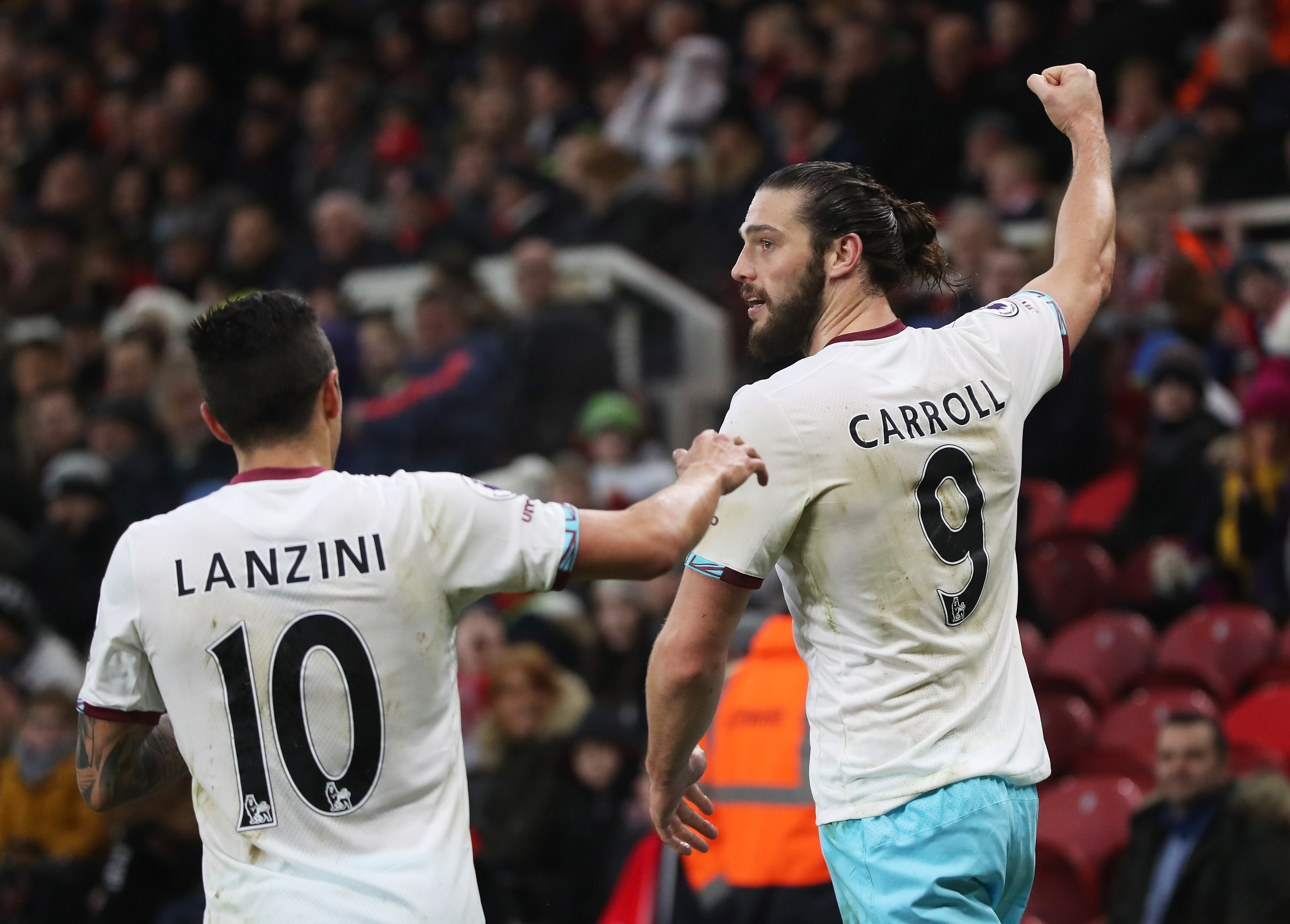 West Ham United 3 1 Middlesbrough Andy Carroll double downs The