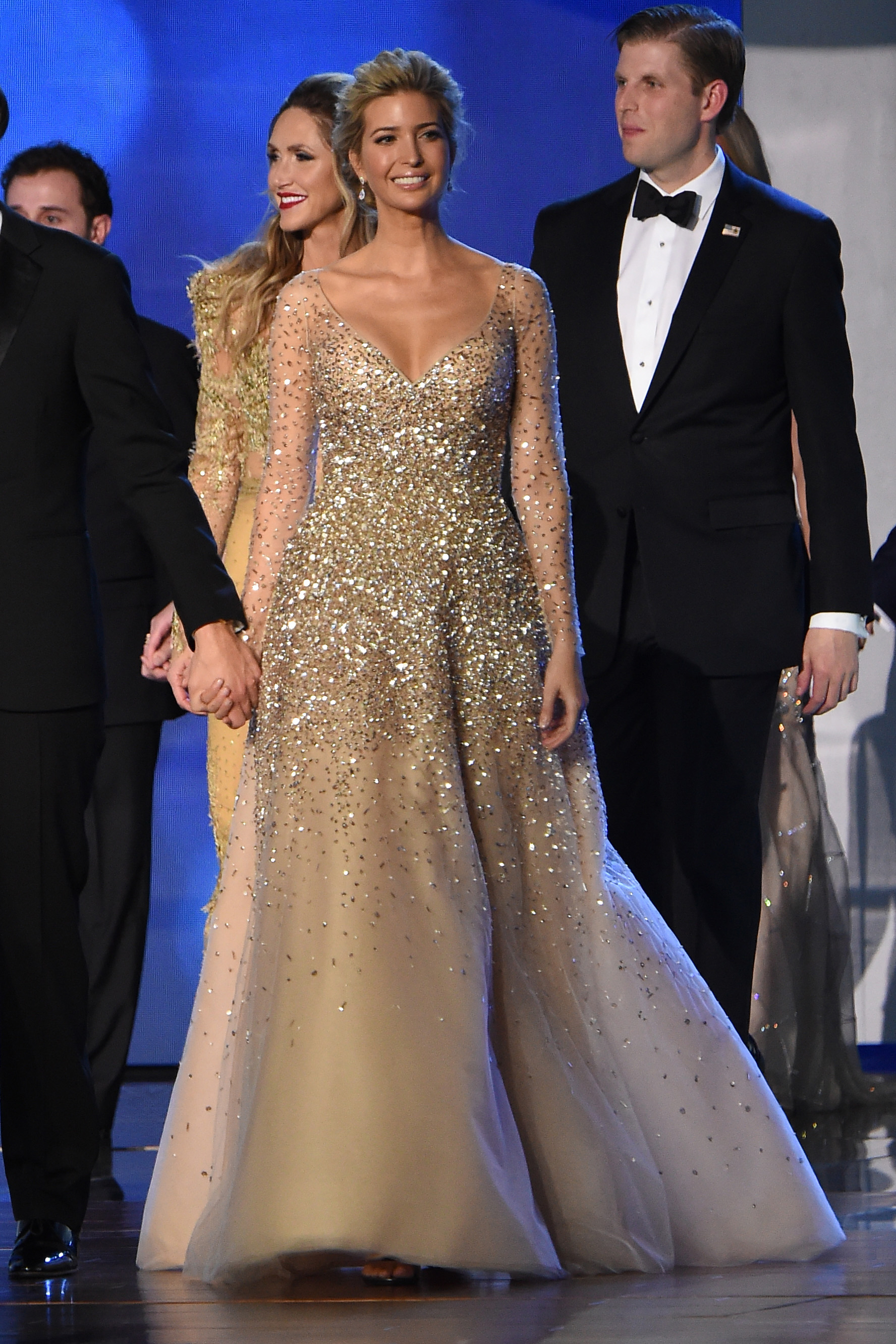 Ivanka Trump In A Sparkly Gold Carolina Herrera Gown At The Salute Our Armed Forces Inaugural