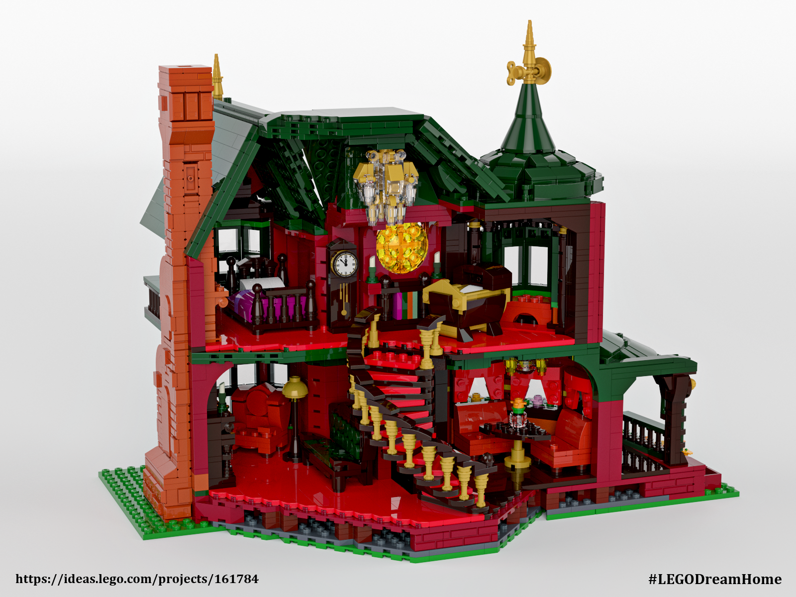 This mini victorian dream home was built with legos curbed for How to build a victorian house