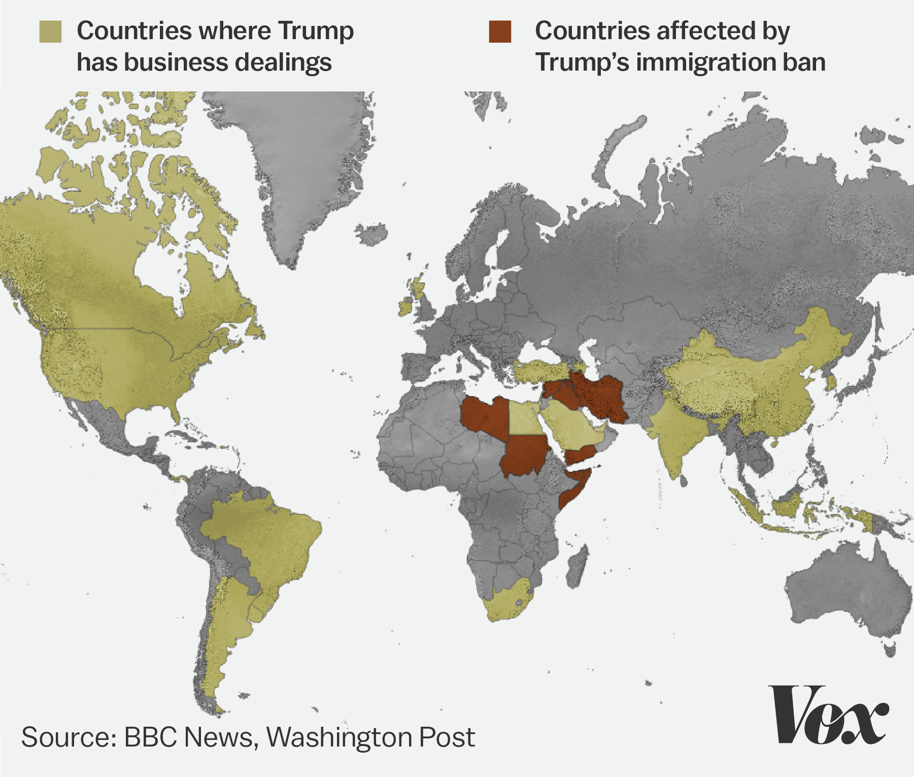 President Trumps Travel Ban Will Leave His Business Partners - Map of countries in us travel ban