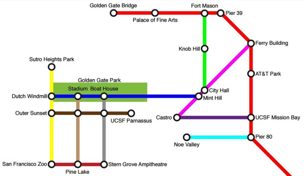 Brilliant San Francisco bike map looks like a subway map  Curbed SF
