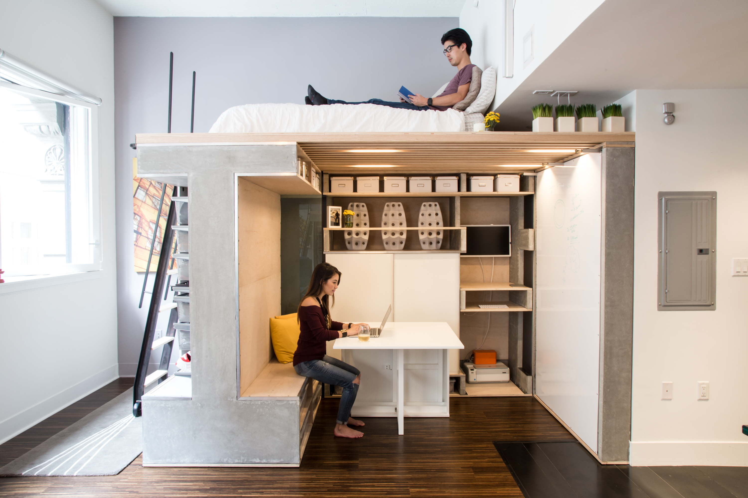7 apartment in a box designs for tiny spaces curbed for Small studio furniture ideas