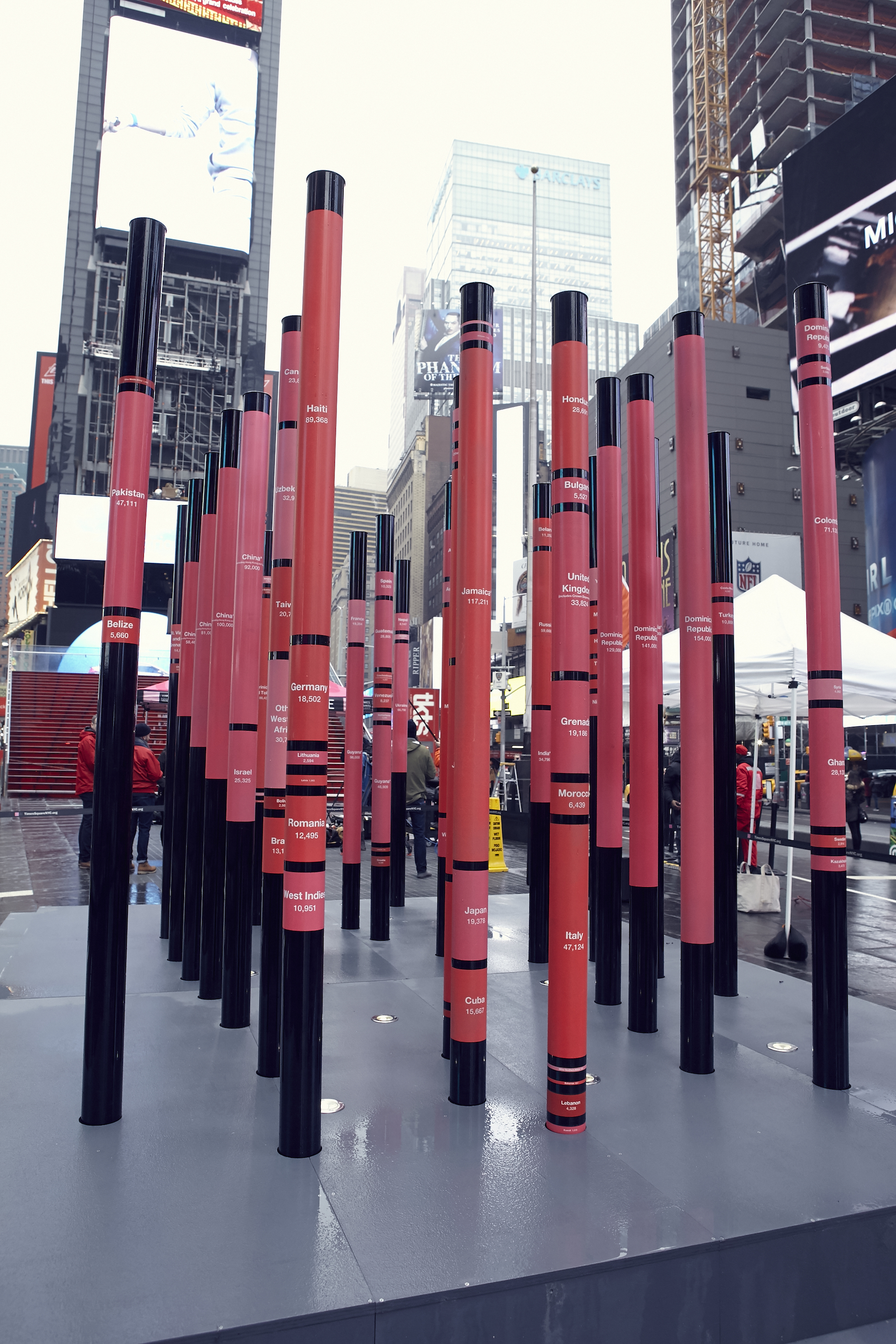 These Red And Pink Metal Poles Are U201cinscribed And Hued To Represent The  National Origins And Shifting Populations Of Foreign Born NYC Residents,u201d  According ...