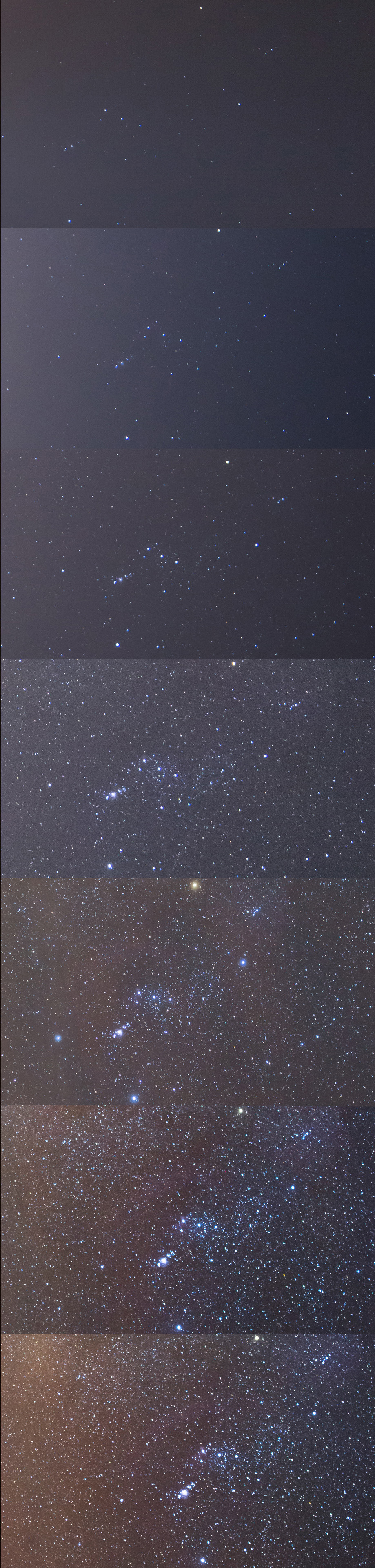 What Orion looks like as you get farther away from light pollution