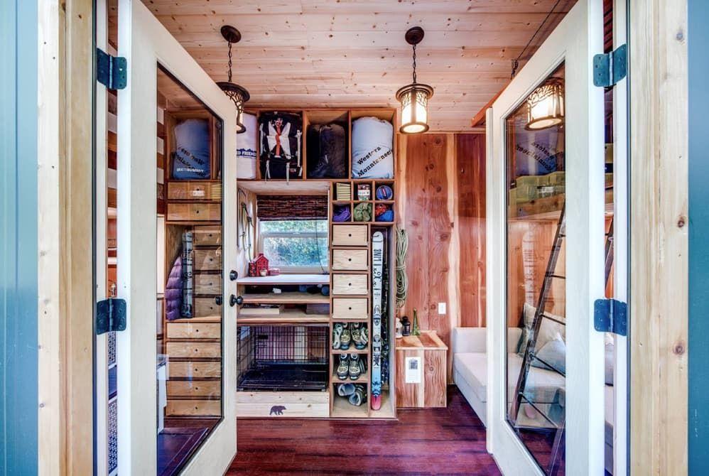 a tiny house with room for a pet family - Tiny Home Storage