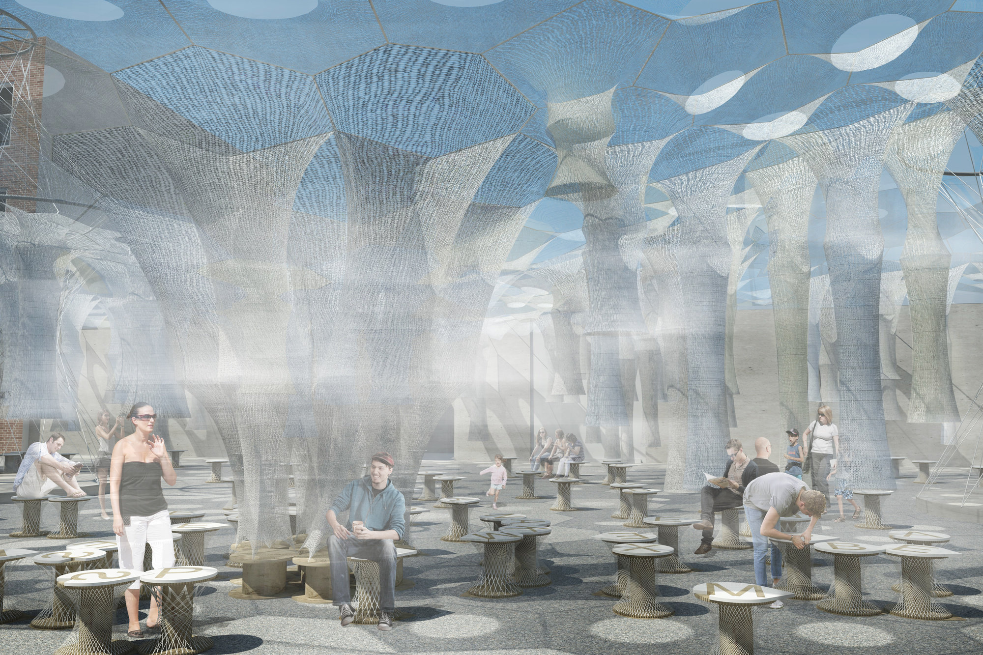 MoMA PS1u0027s courtyard will be transformed by a robotically-woven luminescent canopy & MoMA PS1u0027s courtyard will be transformed by a robotically-woven ...