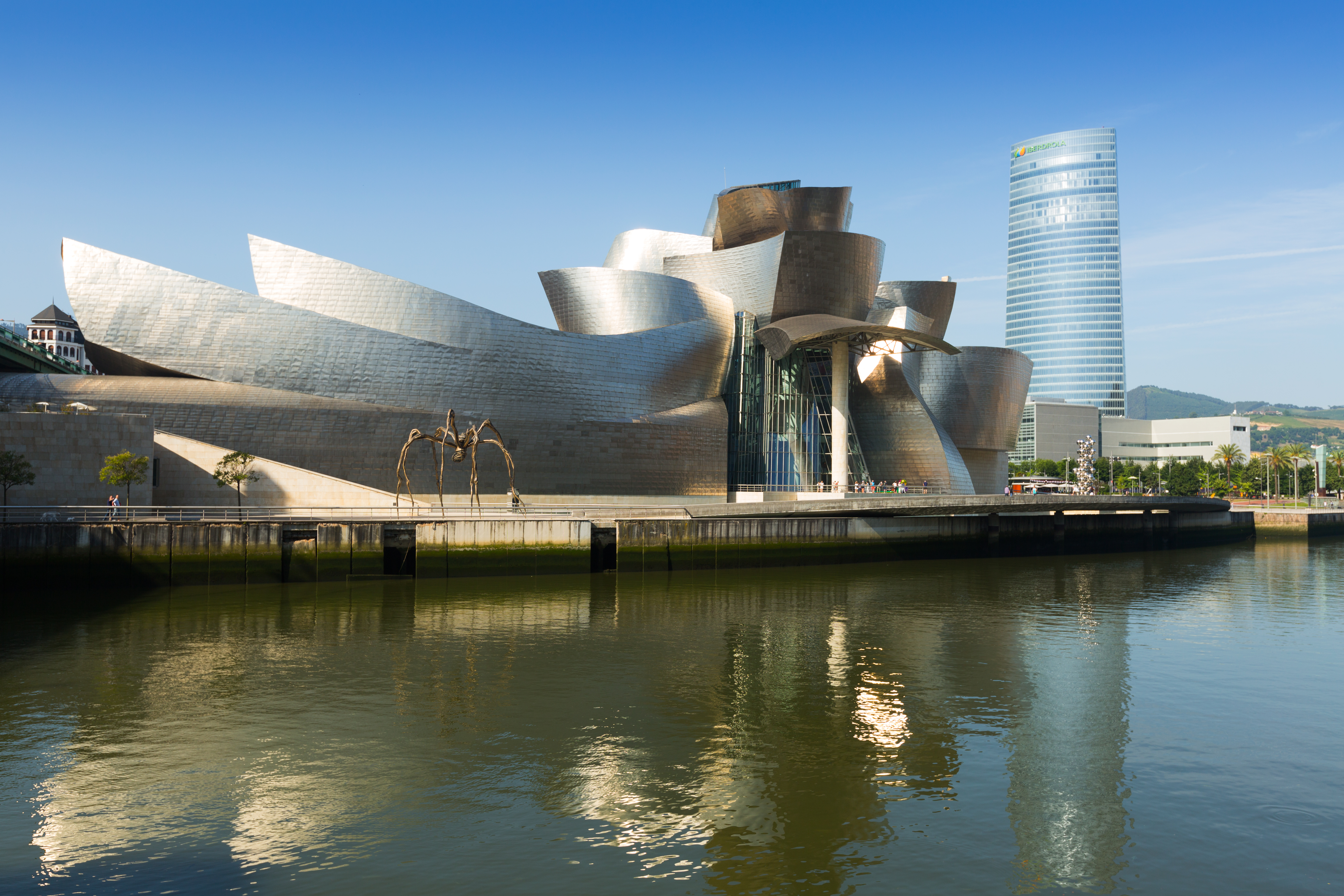 The Guggenheim Museum Bilbao is a museum of modern and contemporary art,  designed by Canadian-American architect Frank Gehry. Shutterstock