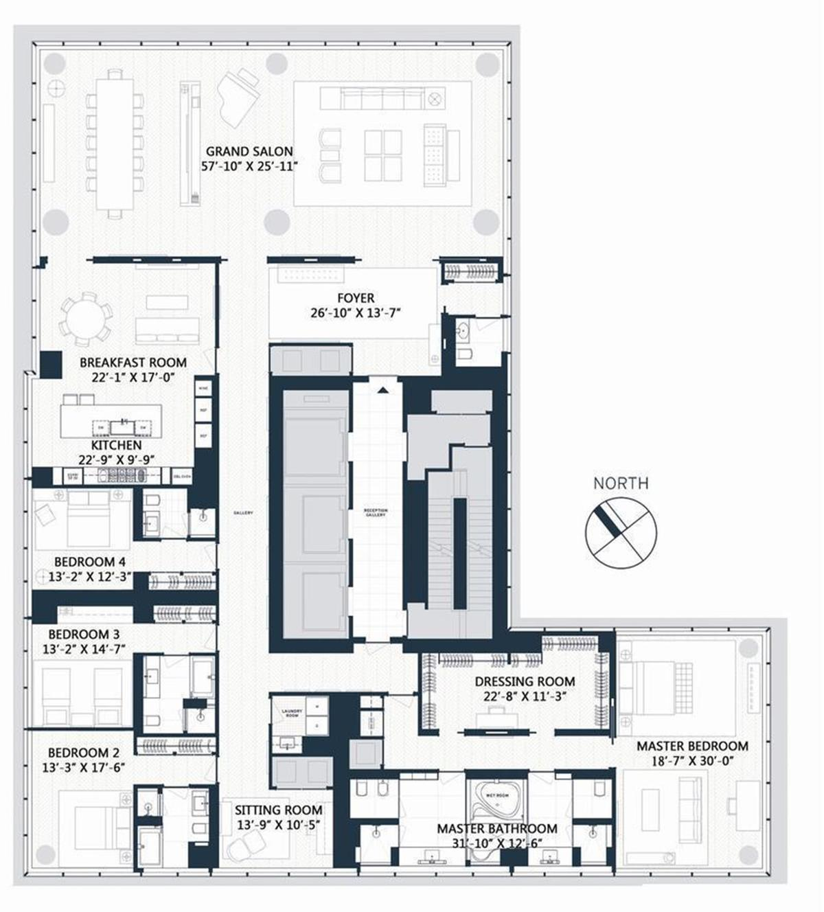 sprawling one57 condo on the supertall s 77th floor tries for 52m listing one57
