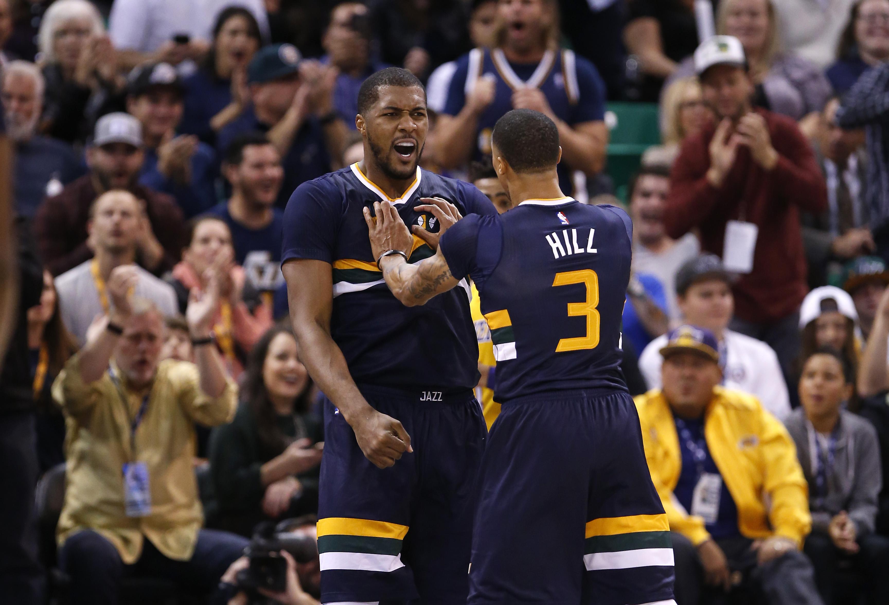 ... NBA Los Angeles Lakers at Utah Jazz adidas Derrick Favors Utah Jazz  Youth Boys Navy Blue Replica Jersey ... c585d8121