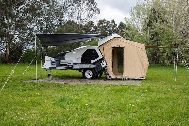 ... jet-black exterior color highlights slide-out kitchen with three-stove burner Queen-size sleeping area weatherproofing awning attachable tent ... & 5 cool camper trailers you can order right now - Curbed