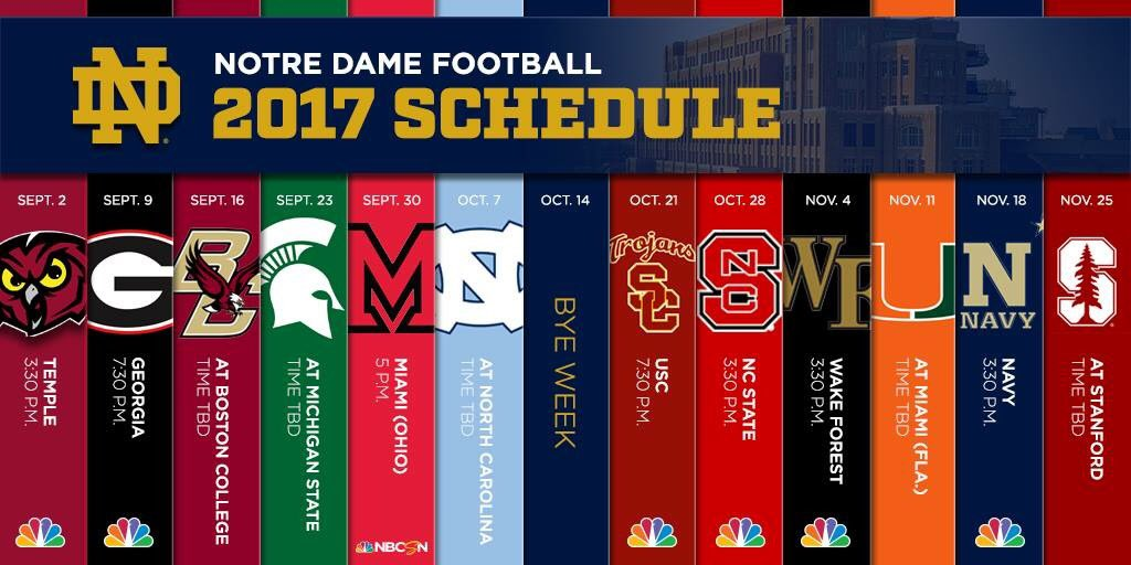 Notre Dame Football Irish Will Play Vanderbilt At Home In