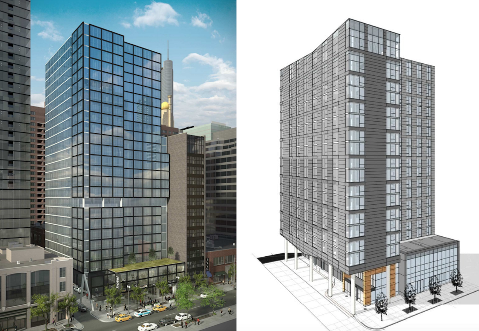 The 24 Story Iteration As Presented By Tishman In Late 2017 Left Versus An 18 Rendering Shared On Skyserpage 2016 Right