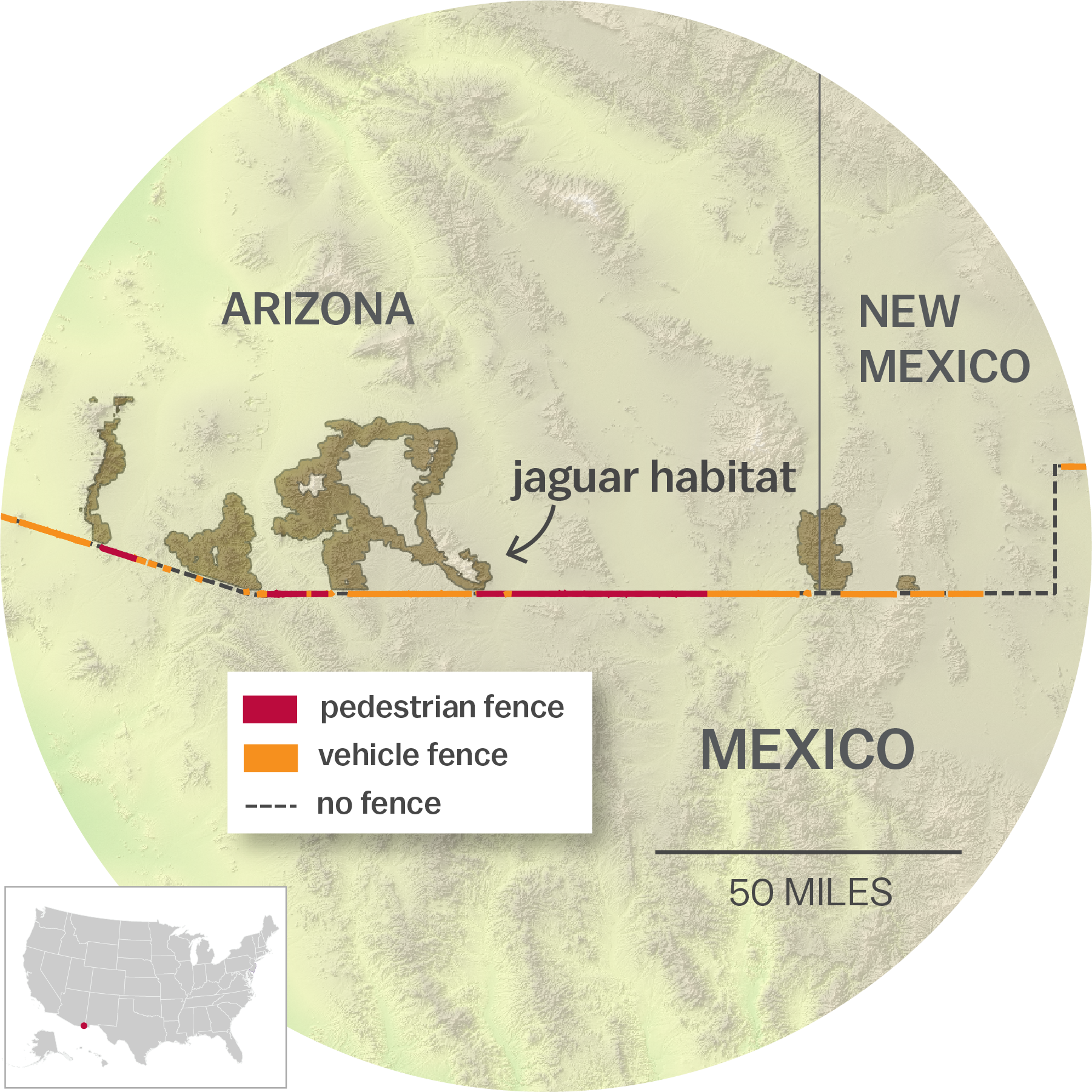 Map Of Jaguar Habitat In Arizona And New Mexico Along The Us Mexico Border Wall