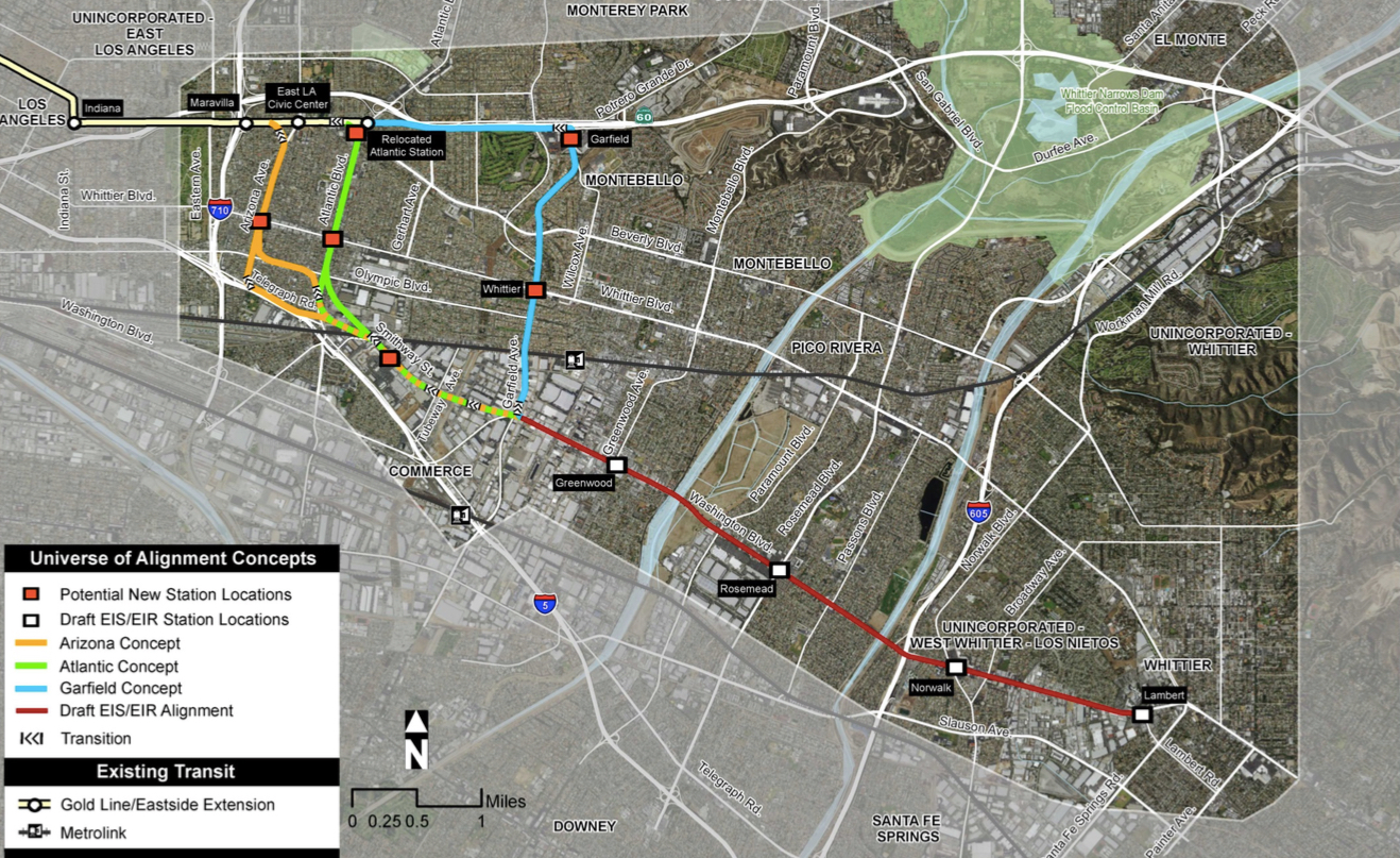 Gold Line Could Travel Underground On Its Way To Whittier Curbed LA - Los angeles metro expansion map