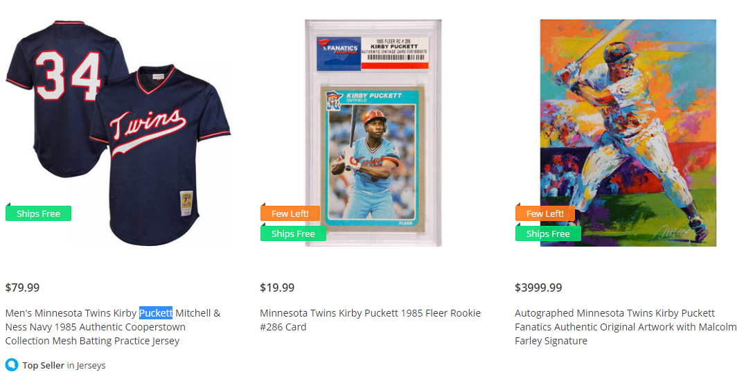 ffa0df5ca25 ... replica throwback jersey white 34 cooperstown minnesota twins A Kirby  Puckett jersey by Mitchell and Ness, a baseball card produced before Kirbys  death ...